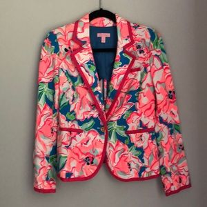 Lilly Pulitzer Pink and Blue Peplum Blazer